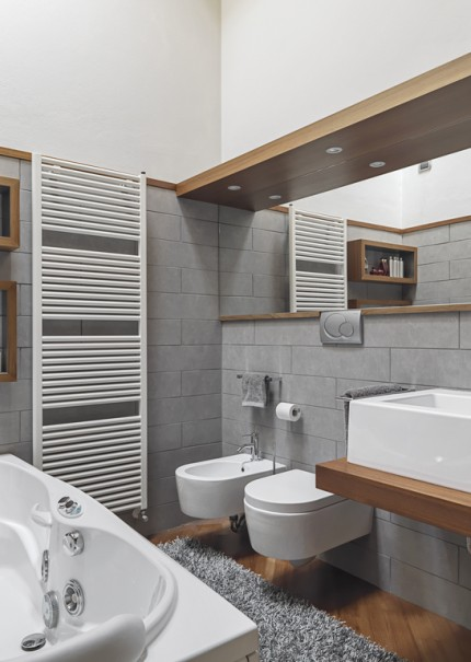 interiors  of a modern bathroom in foreground to the left there is a bathtub instead  on the rgiht you an see the countertop washbasin, the bidet and toilet bowl on the background the white radiator.